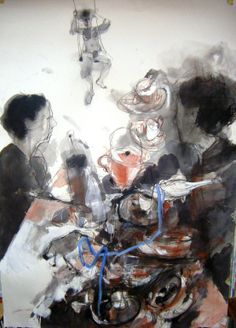 "Saatchi Online Artist: Fotini Hamidieli; Charcoal, Drawing ""dialogue"""