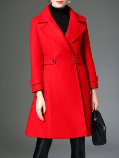 Red Long Sleeve Elegant Lapel A-line Buttoned Coat
