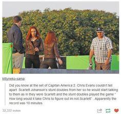 Chris Evans & Scarlett Johansson, Captain America: The Winter Soldier Marvel Dc, Marvel Funny, Marvel Memes, Marvel Comics, Marvel Actors, Funny Avengers, Loki, Winter Soldier, Fandoms
