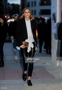 Olivia Palermo outside Burberry during London Fashion Week September 2017 on September 16, 2017 in London, England.