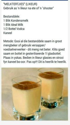 "Rainbow Gospel Radio | ""Melktertjies"" Summer Drink Recipes, Cocktail Recipes, Milk Recipes, Cooking Recipes, Yummy Treats, Yummy Food, Tea Snacks, South African Recipes, Xmas Food"