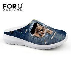 Forudesigns brand diseño de la mujer jeans casa sandalia lindo denim patrón animal cat dog sandalias ocasionales de las mujeres de playa femenino zapato