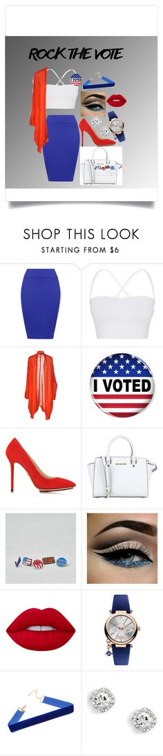 """""""Rock The Vote"""" by faaliyah49 ❤ liked on Polyvore featuring WearAll, Theory, Blue Les Copains, Charlotte Olympia, American Eagle Outfitters, Lime Crime and Vivienne Westwood"""
