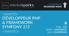 L'agence digitale #Mentalworks recrute un #développeur #PHP maîtrisant le #framework #Symfony2/3. Poste basé sur Compiègne, disponible de suite. Rémunération selon profil et expérience.   Si ce poste vous intéresse, déposez votre candidature ici : http://www.mentalworks.fr/rh