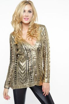 Cozy Gold Foil Knitted Sweater
