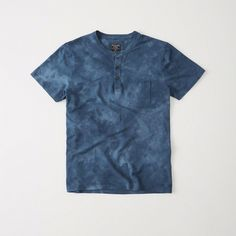Abercrombie & Fitch Tie-Dye Henley ($34) ❤ liked on Polyvore featuring men's fashion, men's clothing, men's shirts, men's casual shirts, tie dye, mens button down shirts, mens casual button down shirts, mens henley shirts, mens casual button up shirts and mens button up shirts