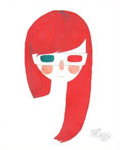 3-D girl illustration by Nan Lawson on Etsy #renegadela