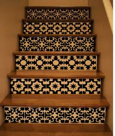 Vinyl Stair Tiles . Spanish Style Staircase Decal by crowbabys - I like the dark version!