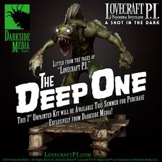 """Greetings from Innsmouth! We are pleased to announce today a sneak peek of """"The Deep One,"""" unpainted figure kit that will be coming from Darkside Media this Summer. Created by Bernhard Van Der Horst and D. ~ Keep it Dark Shot In The Dark, One 7, Cthulhu, Paranormal, The Darkest, Deep, Books, Movie Posters, Films"""