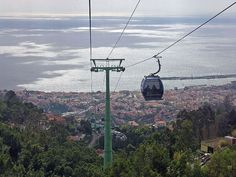 View from the cable car coming down from Mount Maderia to the capital city Funchal. Maderia Island, Portugal.