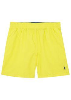 Hawaiian bright yellow twill swim shorts