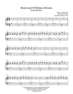 Boulevard of Broken Dreams by Green Day Piano Sheet Music | Rookie Level