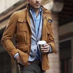 Loving this field jacket look from @teachingmensfashion  Follow @stylishmanmag