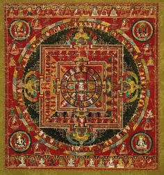 Mandala Of Sarvavid- Vairocana        Tibetan, 16th century         Tibet  Dimensions      H: 77.5 cm W: 71.8 cm (28 x 30 in.)  Medium or Technique      Distemper on cotton  Classification      Paintings     Type      Thangka  Accession Number      67.833  Not on view