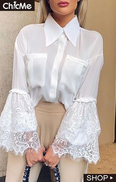 Eyelash Lace Bell Cuff Dual Pocket Shirt Blouse Transparente, White Lace Blouse, White Blouses, White Fashion, Fashion Outfits, Clothes For Women, Sexy Shirts, Floral Flowers, Autumn Tops