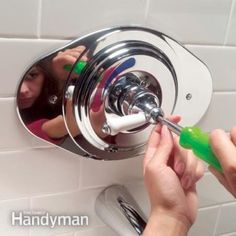 How to Replace a Two-Handle Shower Valve With a Single-Handle Unit Shower Faucet Repair, Shower Faucet Handles, Shower Mixer Taps, Tub And Shower Faucets, Shower Tub, Bathroom Faucets, Shower Plumbing, Shower Fittings, Shower Fixtures