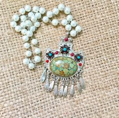 Magnesite Necklace, Tribal Necklace, Turquoise Necklace, Pearl Bead Necklace, Gemstone Necklace, Stone Necklace, Cowgirl Necklace