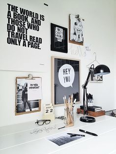 ☆ black and white home offices
