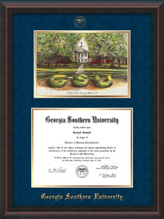 Georgia Southern University - Diploma Frame with hardwood moulding and campus watercolor. Click to see all the styles!