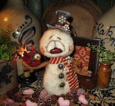"Primitive Valentine Frosty Snowman Cardinal Bird 9"" Doll Patti's Ratties Bear"
