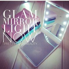 Glam mirror light Long lasting 8 LED Glam Mirror light with foldable 2 sides mirror. With this mirror, you can do makeup in the dark Light powered by one battery Color: Black Dimension: 11 x 8 x x x Weight: Package includes: Mirror Makeup Brushes & Tools Glam Mirror, Mirrors, Pretty Much, Mirror With Lights, Light In The Dark, Makeup Brushes, Neon Signs, Led, Creative
