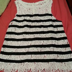 Free people lace tank Off white lace with black ribbon  stripe  4 button back neck closure. Free People Tops Tank Tops