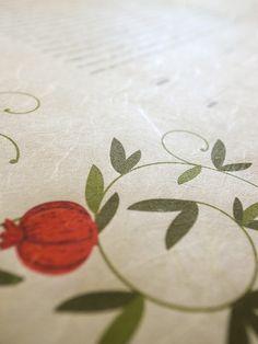 Washi Ketubah - Pomegranate Branches | Jennifer Raichman