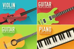 Music flat instruments illustrations by Sir.Enity on Creative Market