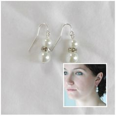 Simple Bridal Pearl and Rhinestone Earrings by AModestBitOfFlair