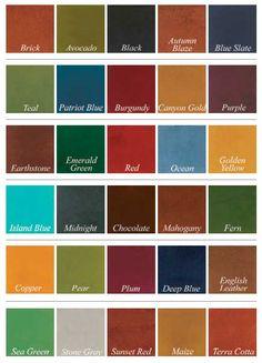 concrete dye color chart - to use on dried concrete Cement Dye, Concrete Cement, Concrete Countertops, Concrete Staining, Decorative Concrete, Concrete Color, Concrete Projects, Acid Stained Concrete Patio, Acid Wash Concrete