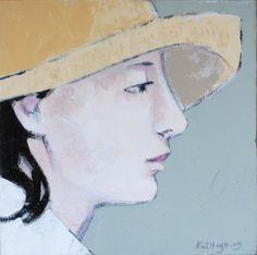 """Sun Hat"" Original Painting by Kai Hagberg, 25 cm x 25 cm Acrylic on Canvas"