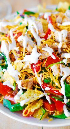 Chicken taco salad - with Ranch dressing, or a healthier, Greek Yogurt based salad dressing.
