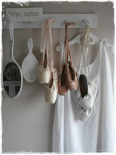 Ballet Pointe Shoes Bedroom Shelf Whitewashed Chippy Shabby Chic French Country Rustic Swedish decor Idea. ***Pinned by oldattic ***.