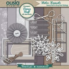 Winter Moments    This digital scrapbooking kit contains 5 softly-colored cardstocks, 2 snowy-print papers, 1 woodgrain print paper, 9 frames in 3 styles and colors, lots of journaling spots and labels, and several coordinating embellishments.    Available for free on the Ousia Studio blog.