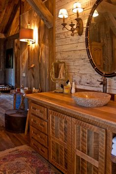 Rustic Cabin Bathroom, Cabin Bathrooms, Rustic Bathroom Vanities, Rustic Bathrooms, Reclaimed Wood Mirror, Wood For Sale, Cozy Cabin, Wooden Walls, Double Vanity