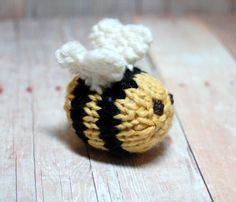 Bee Knitting Pattern and Picture Tutorial, Instant Download, Bumble Bee, Spring Easter Toy Ornament PDF - Waldorf Knit Bee Pattern DIY - SweetBauerKnits on Etsy - $4.00