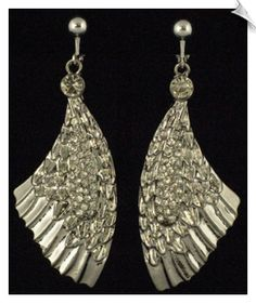 Fashion Silverartsy Trendy Silvertone Dangle Clip On Earrings Accented With Clear Rhinestones 3 In 28 Whimzclipearrings