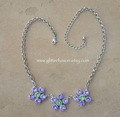 Violet & Peridot Swarovski Crystal Flower Statement Necklace, Purple Pastel Crystal Floral Bib Necklace GlitterFusion Spring Fashion Jewelry