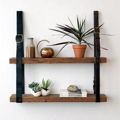 Diy belt wall shelf