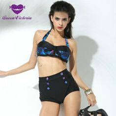 2016 Woman's Leopard High Waist Set Neck Bandage Wireless Push-up Padded Bra Swimwear Retro Black Button Vintage Bikini Swimsuit ** Find out more about the great product at the image link.