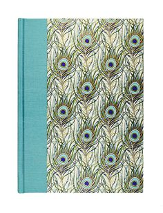 Blank Book Lined Paper Journal TEAL PEACOCK by WolfiesBindery
