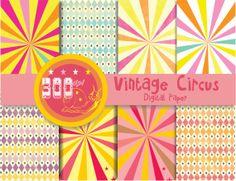 Vintage circus digital paper stripes carnival by GemmedSnail, $3.20 Digital Scrapbook Paper, Digital Papers, Digital Backgrounds, Circus Party, Vintage Circus, Design Elements, Planners, Carnival, Scrapbooking