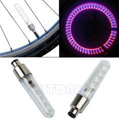 2ピース/ロットパープル色バイク自転車車のホイールタイヤのバルブキャップはネオンフラッシュledライトランプ卸売