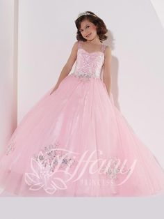 Tiffany Princess 13395 Pink Sequined Ball Gown Pageant Dress