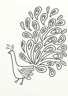 FREE printable peacock coloring page / digital stamp -Sj's - Little Musings