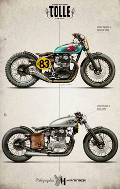 Two radical Yamaha XS650 custom motorcycle concepts from designer Holographic Hammer for the Stockholm-based workshop Tolle Engineering. Do you prefer A or B?