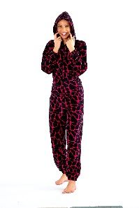 Giraffe print ladies onesie, stay warm and snuggly all winter.  Really soft onesie with a kangaroo pocket and hood.  In sizes 8-22.  Black with Pink £20