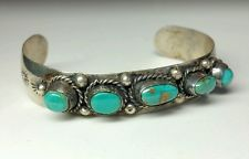 J4459 SUPERB NAVAJO STERLING SILVER 5 STONE ROYSTON TURQUOISE CUFF BRACELET