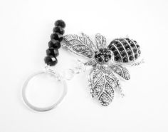 Jeweled Bug Keychain Large Bee Charm Winged by WhispySnowAngel