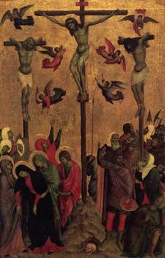 Crucifixion - Duccio (attribution recently challenged).  1310s.  Tempera on panel.  60 x 38 cm.  City Art Gallery, Manchester, UK.